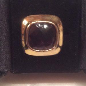 Statement dark amethyst faceted ring